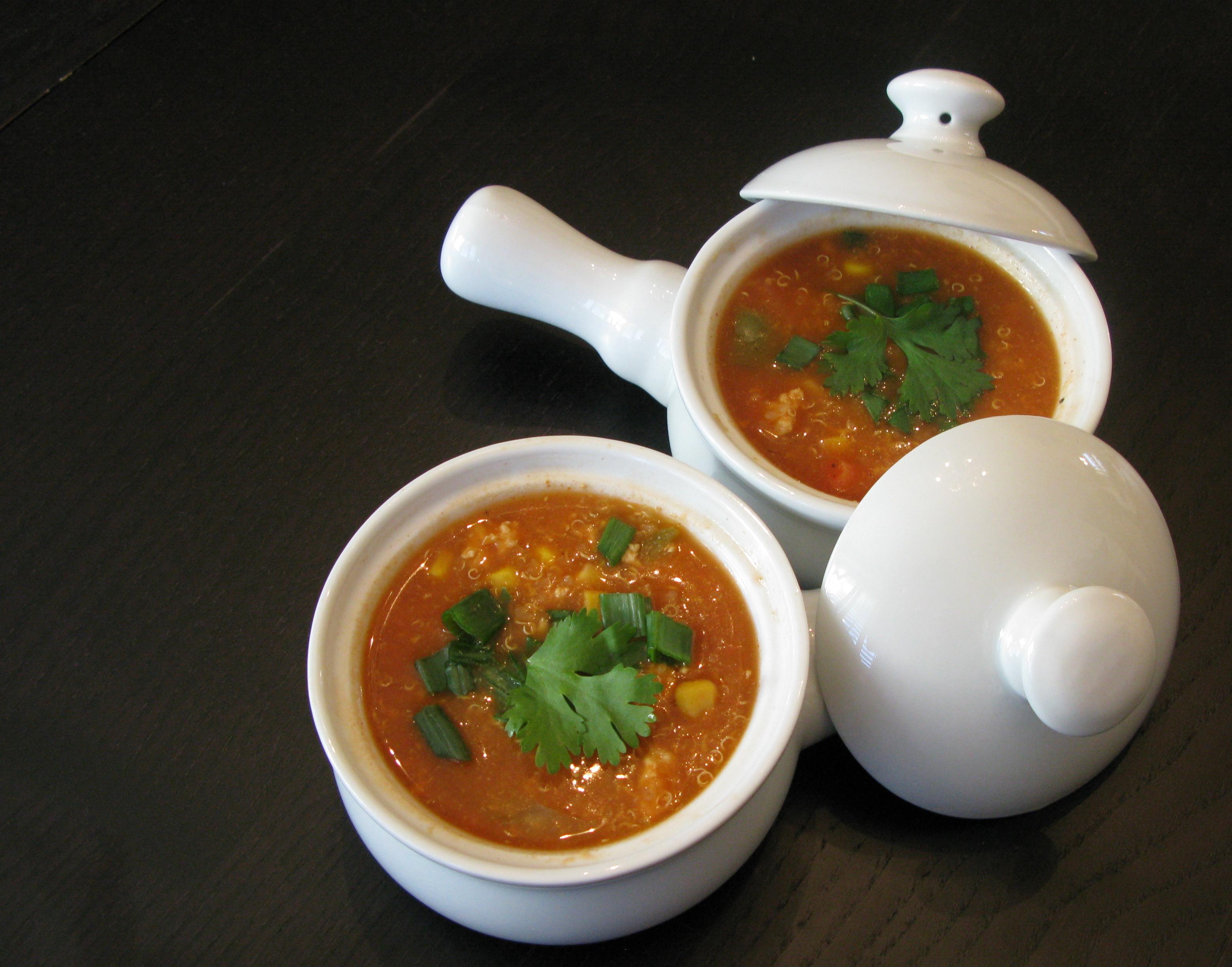 Spicy Tomato Vegetable Quinoa Soup | DeshiGrub.com