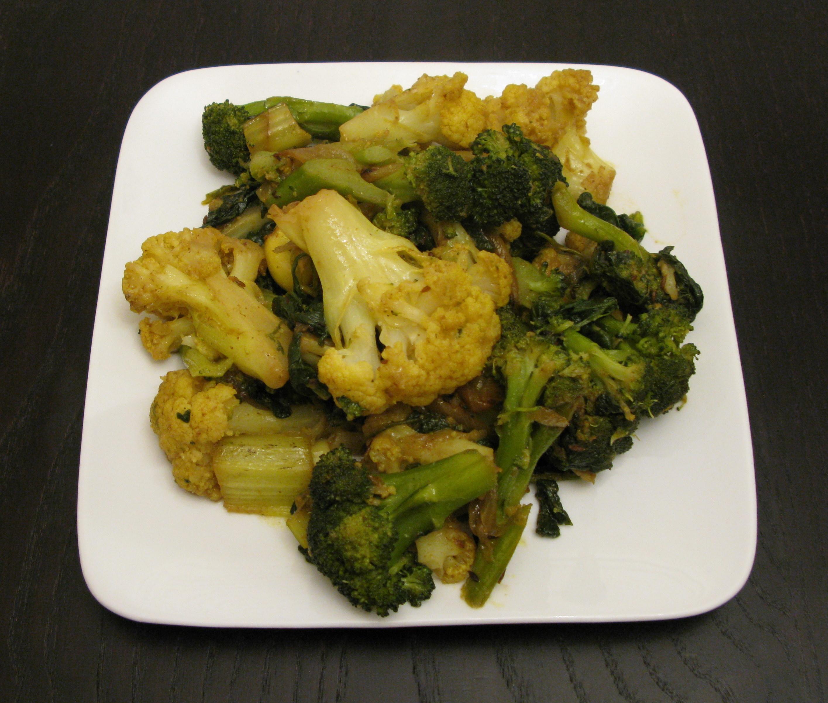 recipe: spinach and cauliflower bhaji [6]