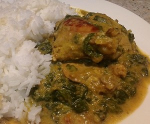 khalisah's chicken spinach curry